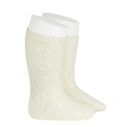 Perle geometric openwork knee high socks BEIGE