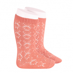 Perle geometric openwork knee high socks PEONY