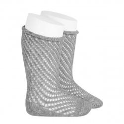 Net openwork perle knee high socks w/rolled cuff ALUMINIUM