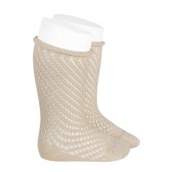 Net openwork perle knee high socks w/rolled cuff LINEN