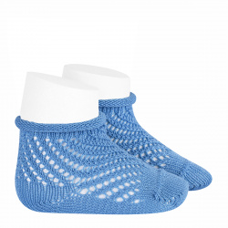 Net openwork perle short socks with rolled cuff MAYAN