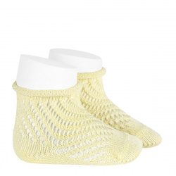 Net openwork perle short socks with rolled cuff BUTTER