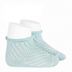 Net openwork perle short socks with rolled cuff AQUAMARINE