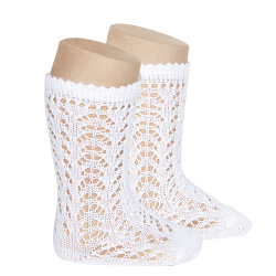 Cotton openwork knee-high socks WHITE