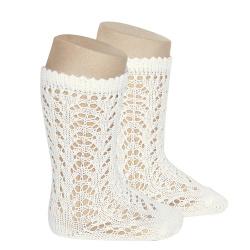 Cotton openwork knee-high socks BEIGE
