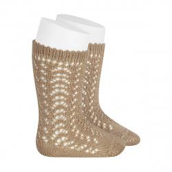 Cotton openwork knee-high socks ROPE
