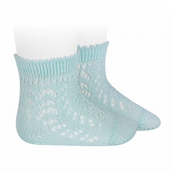 Cotton openwork short socks AQUAMARINE