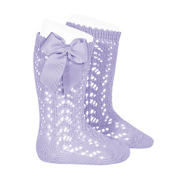 Cotton openwork knee-high socks with bow MAUVE