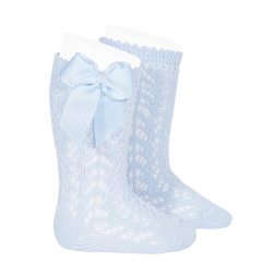 Cotton openwork knee-high socks with bow BABY BLUE