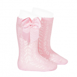 Cotton openwork knee-high socks with bow PINK