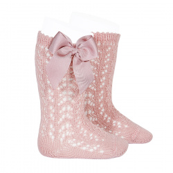 Cotton openwork knee-high socks with bow PALE PINK