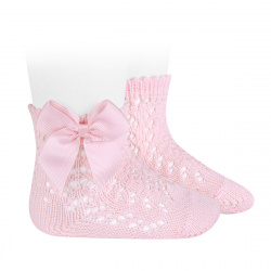 Cotton openwork short socks with bow PINK