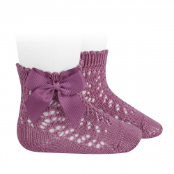 Cotton openwork short socks with bow CASSIS