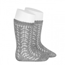 Metallic yarn openwork perle knee socks ALUMINIUM