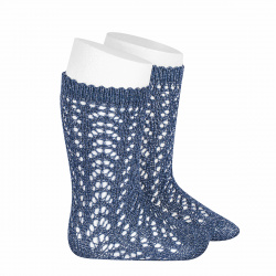 Metallic yarn openwork perle knee socks FRENCH BLUE
