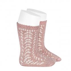 Metallic yarn openwork perle knee socks OLD ROSE
