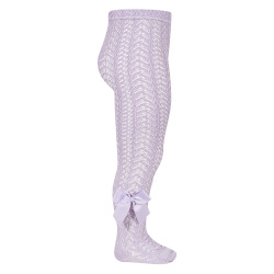 Openwork perle tights with side grossgrain bow MAUVE