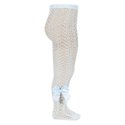 Openwork perle tights with side grossgrain bow BABY BLUE