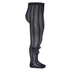 Openwork perle tights with side grossgrain bow NAVY BLUE