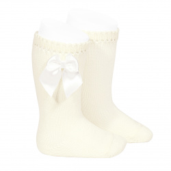 Perle knee high socks with bow BEIGE