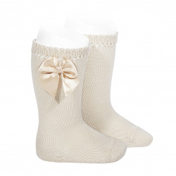 Perle knee high socks with bow LINEN
