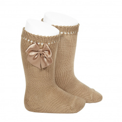 Perle knee high socks with bow CAMEL