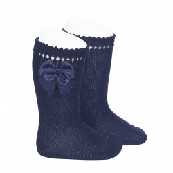 Perle knee high socks with bow NAVY BLUE