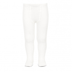 Perle openwork tights lateral spike WHITE