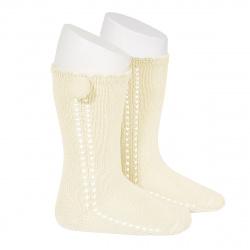 Side openwork perle knee high socks withpompom BEIGE