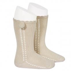 Side openwork perle knee high socks withpompom LINEN
