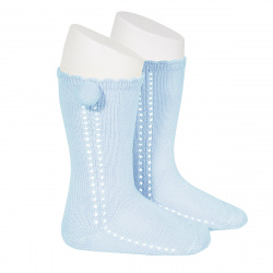 Side openwork perle knee high socks withpompom BABY BLUE