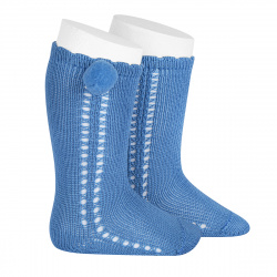 Side openwork perle knee high socks withpompom MAYAN