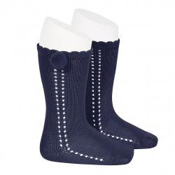 Side openwork perle knee high socks withpompom NAVY BLUE