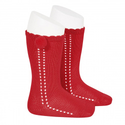 Side openwork perle knee high socks withpompom RED