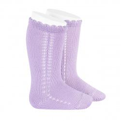 Side openwork perle knee high socks MAUVE