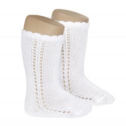 Side openwork perle knee high socks WHITE