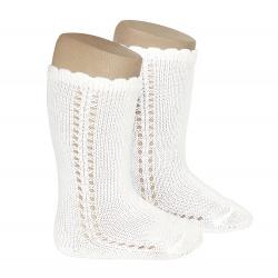 Side openwork perle knee high socks CREAM