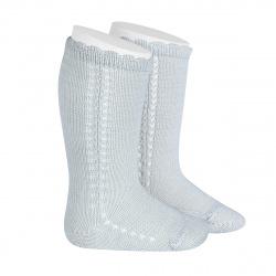 Side openwork perle knee high socks PEARLY