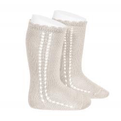 Side openwork perle knee high socks LINEN