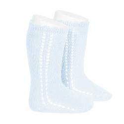 Side openwork perle knee high socks BABY BLUE