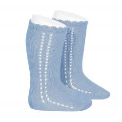 Side openwork perle knee high socks BLUISH