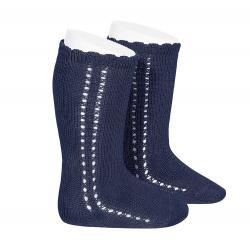 Side openwork perle knee high socks NAVY BLUE