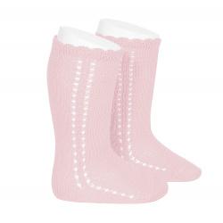 Side openwork perle knee high socks PINK