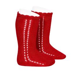 Side openwork perle knee high socks RED