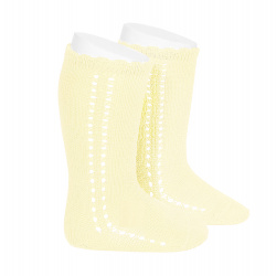Side openwork perle knee high socks BUTTER