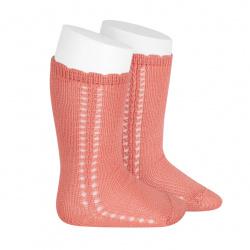 Side openwork perle knee high socks PEONY