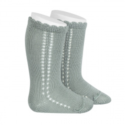 Side openwork perle knee high socks DRY GREEN