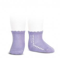 Perle side openwork short socks MAUVE