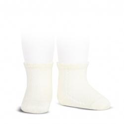 Perle side openwork short socks BEIGE