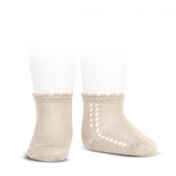 Perle side openwork short socks LINEN